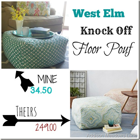 Great West Elm Knock Off Floor Pouf