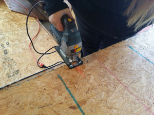 cutting plywood