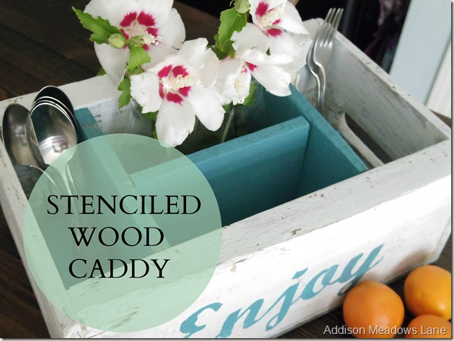 stenciled wood caddy